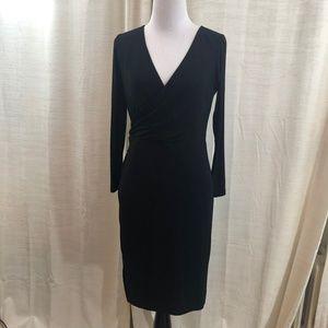 Ann Taylor LOFT Black Faux Wrap Dress